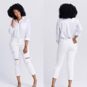 ABLE The Lucely Slouch Distressed White Jeans